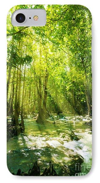 Waterfall In Rainforest Phone Case by Atiketta Sangasaeng