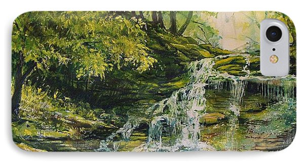 IPhone Case featuring the painting Waterfall In The Woods by Joy Nichols