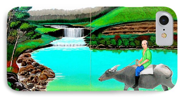 IPhone Case featuring the painting Waterfalls And Man Riding A Carabao by Cyril Maza