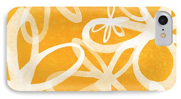 Waterflowers- Orange And White IPhone Case by Linda Woods