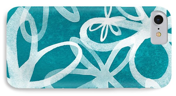 Waterflowers- Teal And White IPhone Case by Linda Woods