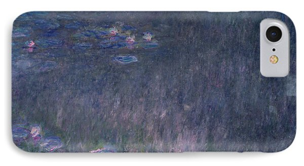 Waterlilies Reflections Of Trees, Detail From The Left Hand Side, 1915-26 IPhone Case by Claude Monet