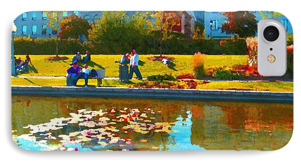 Waterlily Gardens At The Old Port Vieux Montreal Quebec Summer Scenes Carole Spandau IPhone Case by Carole Spandau