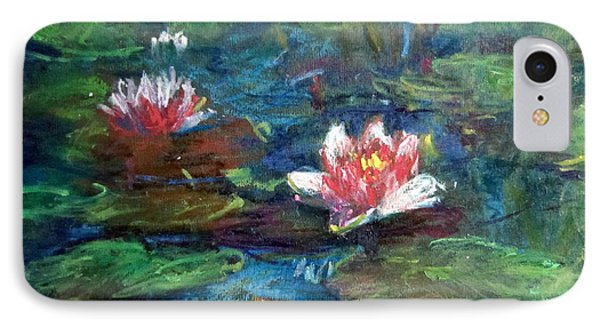 IPhone Case featuring the painting Waterlily In Water by Jieming Wang
