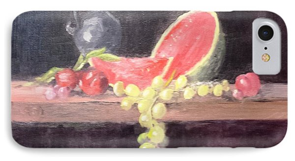 Watermelon And Plums - Still Life IPhone Case by Larry Hamilton