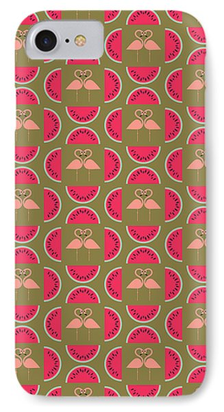 Watermelon Flamingo Print IPhone 7 Case by Susan Claire