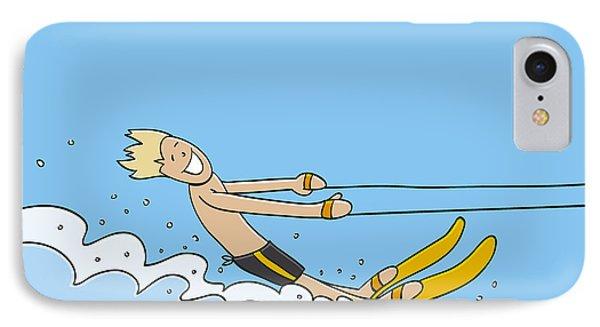 Waterskiing Happy Man IPhone Case by Frank Ramspott