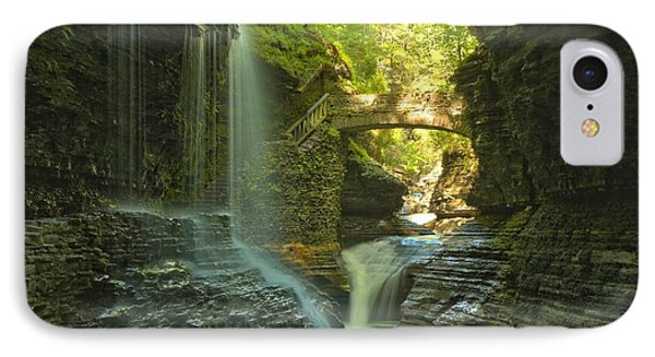 Watkins Glen Falls In The Canyon IPhone Case by Adam Jewell