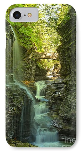Watkins Glen Rainbow Falls Portrait IPhone Case by Adam Jewell
