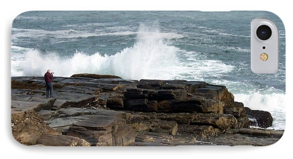Wave Hitting Rock IPhone Case by Catherine Gagne