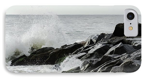 Wave On Rocks IPhone Case by Maureen E Ritter
