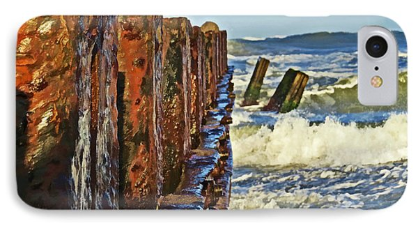 Waves Against The Breakers IPhone Case by Dawn Gari