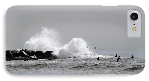 Waves Crash Against Beach 91st Jetty IPhone Case by Maureen E Ritter