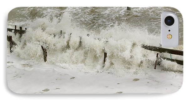 Waves Crashing Against The Sea Defences IPhone Case by Ashley Cooper