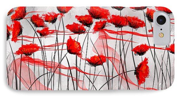 We Remember- Red Poppies Impressionist Painting IPhone Case by Lourry Legarde