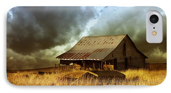 Weathered Barn  Stormy Sky IPhone Case by Ann Powell