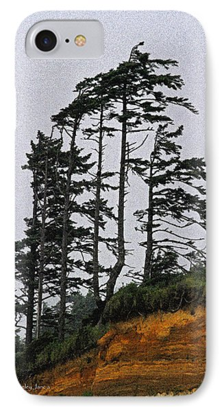Weathered Fir Tree Above The Ocean IPhone Case by Tom Janca