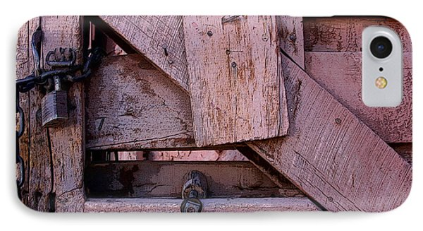 Weathered Gate With Lock And Chain IPhone Case by Joe Kozlowski
