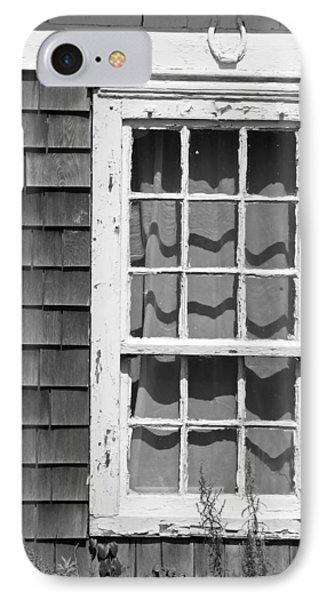 IPhone Case featuring the photograph Weathered Window With Lucky Horseshoe by Brooke T Ryan