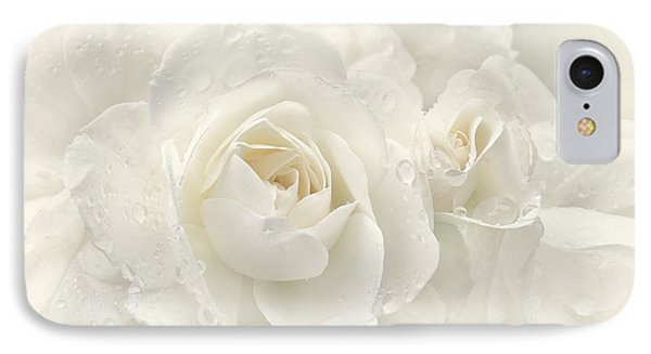 Wedding Day White Roses Phone Case by Jennie Marie Schell