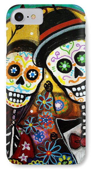IPhone Case featuring the painting Wedding Dia De Los Muertos by Pristine Cartera Turkus