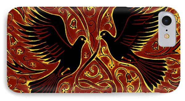 Wedding Doves, 2013 Woodcut IPhone Case by Nat Morley