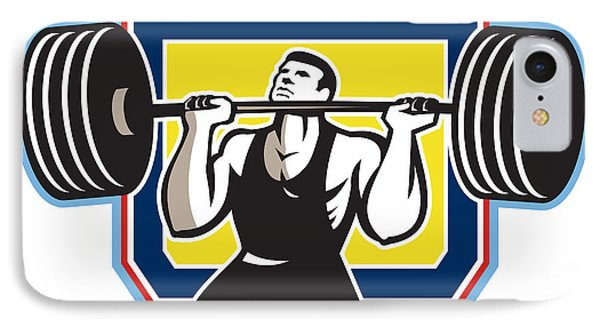 Weightlifter Lifting Heavy Barbell Retro Phone Case by Aloysius Patrimonio