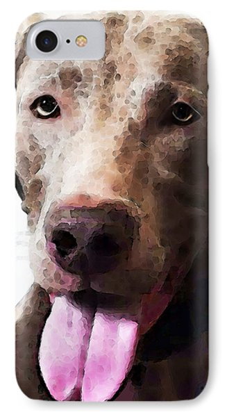 Weimaraner Dog Art - Happy IPhone Case by Sharon Cummings