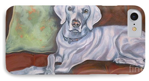 Weimaraner Reclining IPhone Case by Susan A Becker