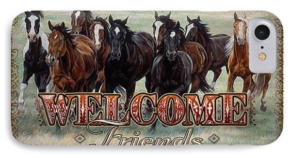 IPhone Case featuring the painting Welcome Friends Horses by JQ Licensing