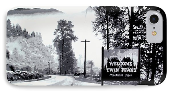 IPhone Case featuring the painting Welcome To Twin Peaks by Luis Ludzska