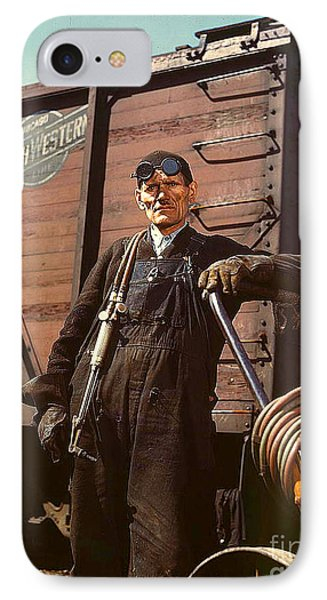IPhone Case featuring the photograph Welder At Proviso R R Yard 1943 by Merton Allen
