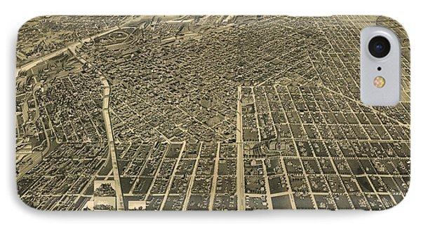 Wellge's Birdseye Map Of Denver Colorado - 1889 IPhone Case by Eric Glaser
