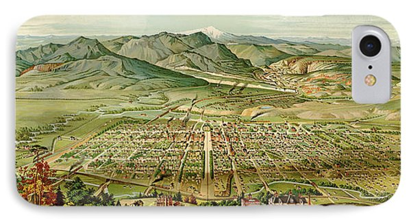 Wellge's Colorado Springs Birdseye Map - 1890 IPhone Case by Eric Glaser