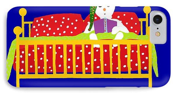 Welsh Snowman Bedtime  IPhone Case by Barbara Moignard