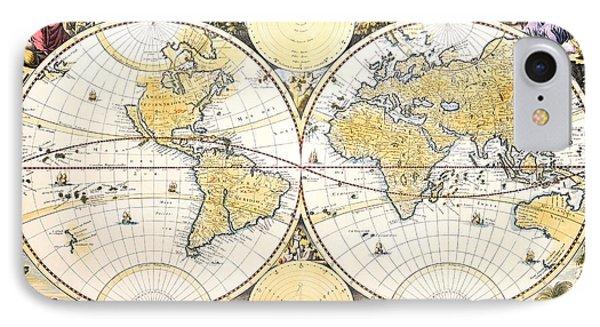 Antique World Map IPhone Case by Nicolaes the Elder Visscher