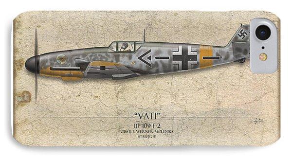Werner Molders Messerschmitt Bf-109 - Map Background Phone Case by Craig Tinder