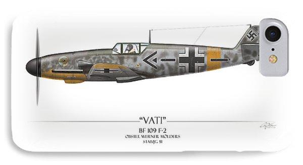 Werner Molders Messerschmitt Bf-109 - White Background Phone Case by Craig Tinder