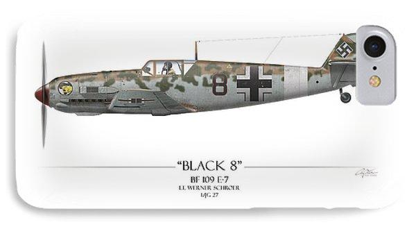 Werner Schroer Messerschmitt Bf-109 - White Background Phone Case by Craig Tinder