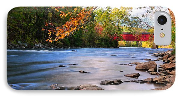 West Cornwall Covered Bridge- Autumn  Phone Case by Thomas Schoeller