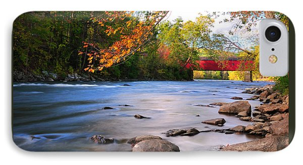 West Cornwall Covered Bridge- Autumn  IPhone Case by Thomas Schoeller