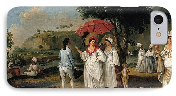 West Indian Landscape With Figures Promenading Before A Stream IPhone Case by Agostino Brunias