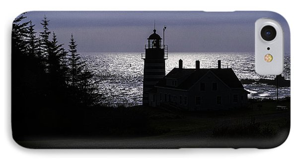 West Quoddy Head Light Station In Silhouette IPhone Case by Marty Saccone