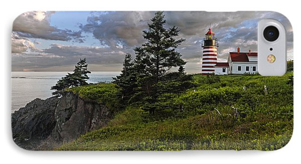 West Quoddy Head Lighthouse Panorama Phone Case by Marty Saccone