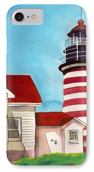 IPhone Case featuring the painting West Quoddy Light House by Nan Wright