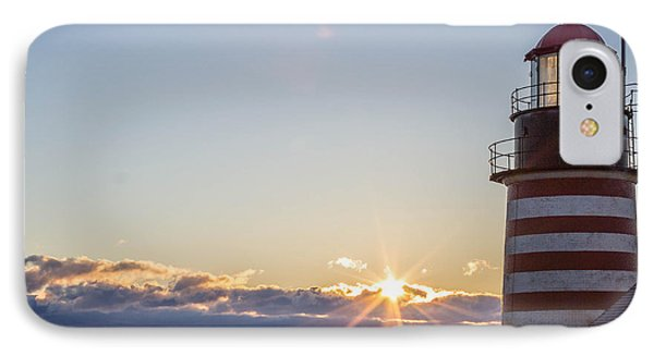 IPhone Case featuring the photograph West Quoddy Lighthouse Sunrise by Trace Kittrell