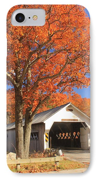 West River Covered Bridge Vermont Fall Foliage IPhone Case by John Burk