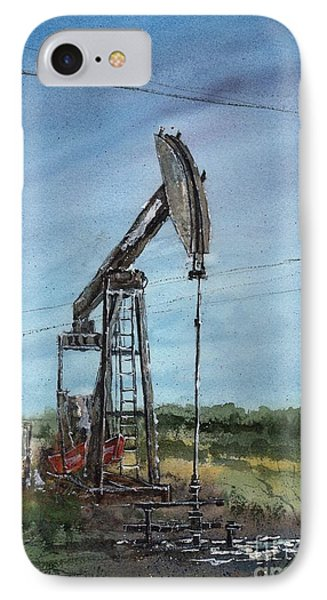 IPhone Case featuring the painting West Texas Pumpjack by Tim Oliver
