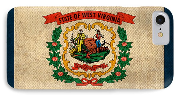 West Virginia State Flag Art On Worn Canvas IPhone Case by Design Turnpike
