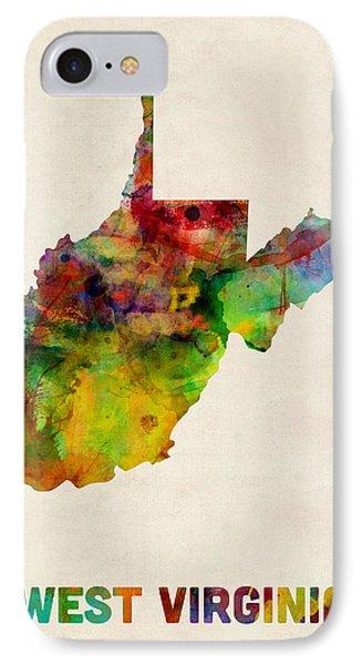 West Virginia Watercolor Map IPhone Case